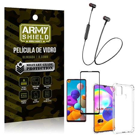 Fone Bluetooth HS-615 Samsung A21S + Capinha Anti Impacto + Película 3D - Armyshield