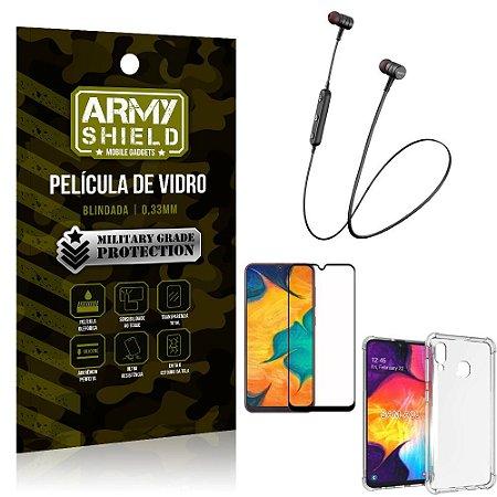 Fone Bluetooth HS-615 Samsung A30 + Capinha Anti Impacto + Película 3D - Armyshield