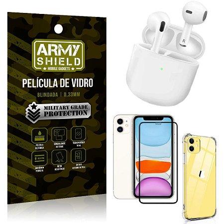 Fone Bluetooth LY-113 iPhone 11 6.1 + Capinha Anti Impacto + Película 3D - Armyshield