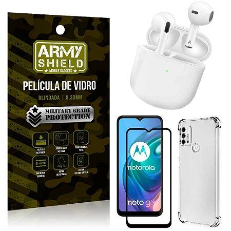 Fone Bluetooth LY-113 Moto G10 + Capinha Anti Impacto + Película 3D - Armyshield