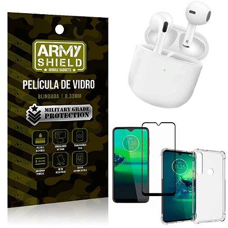 Fone Bluetooth LY-113 Moto G8 Plus + Capinha Anti Impacto + Película 3D - Armyshield