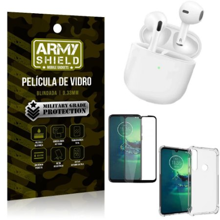 Fone Bluetooth LY-113 Moto G8 Play + Capinha Anti Impacto + Película 3D - Armyshield