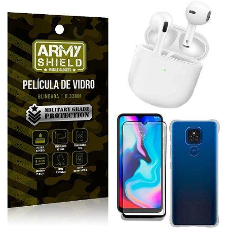 Fone Bluetooth LY-113 Moto E7 Plus + Capinha Anti Impacto + Película 3D - Armyshield