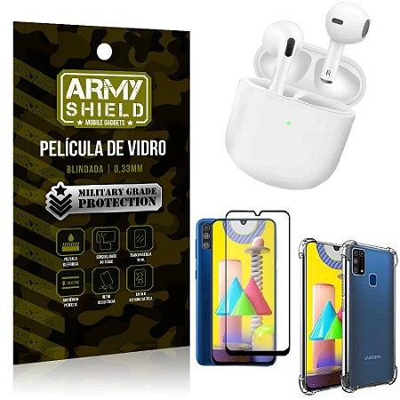 Fone Bluetooth LY-113 Samsung M31 + Capinha Anti Impacto + Película 3D - Armyshield