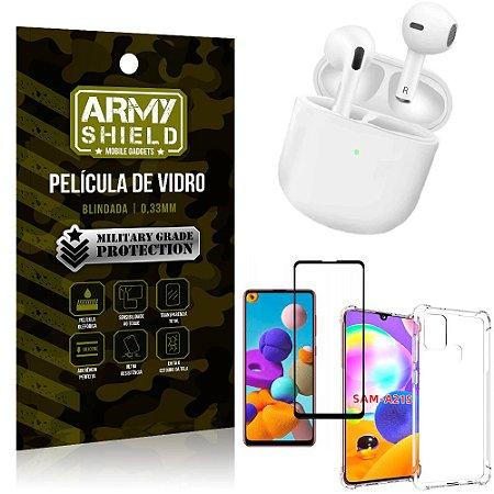 Fone Bluetooth LY-113 Samsung A21S + Capinha Anti Impacto + Película 3D - Armyshield