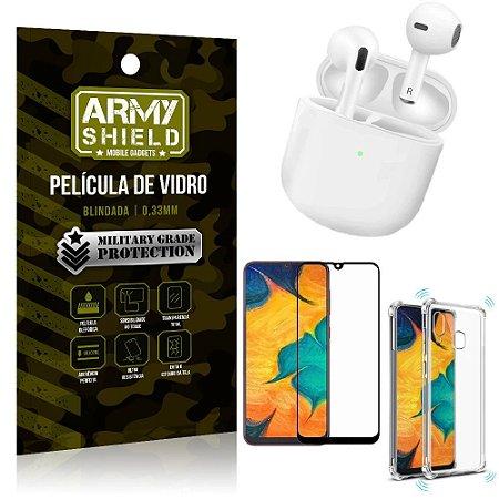 Fone Bluetooth LY-113 Samsung A20 + Capinha Anti Impacto + Película 3D - Armyshield