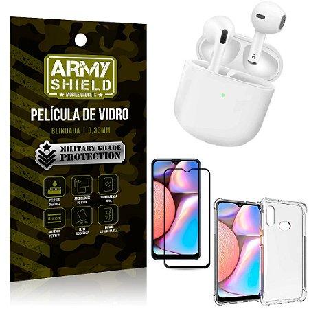 Fone Bluetooth LY-113 Samsung A10S + Capinha Anti Impacto + Pelicula 3D - Armyshield