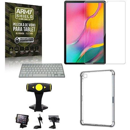 Suporte de Mesa para Tablet Samsung A 10.1 T510/T515 +Teclado +Capa Anti Shock + Pelicula Armyshield