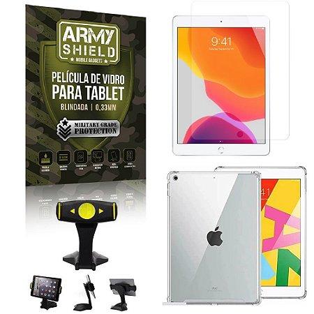 Suporte de Mesa para Tablet iPad 8 10.2 + Capinha Antishock + Pelicula Armyshield