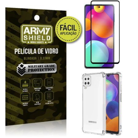 Kit Samsung M62 Película 3D Fácil Aplicação + Capa Anti Impacto - Armyshield