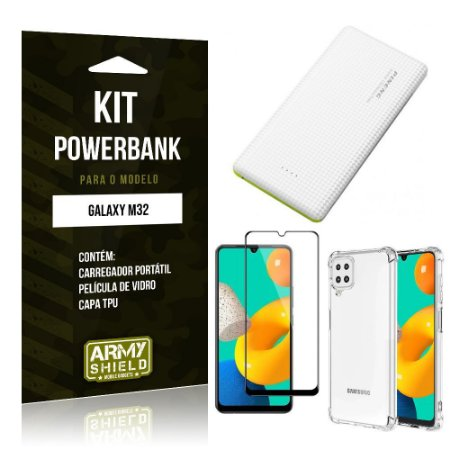 Kit Samsung M32 Carregador Portátil 5K Tipo C + Capa Anti Impacto + Película Vidro 3D - Armyshield