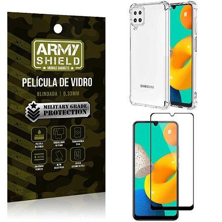 Kit Capinha Anti Impacto Samsung M32 + Película de Vidro 3D - Armyshield