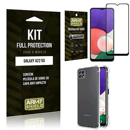 Kit Samsung A22 5G Full Protection com Película de Vidro 3D + Capa Anti Impacto - Armyshield