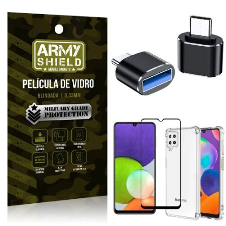 Kit Samsung A22 4G Adaptador OTG Tipo C para USB + Capa Anti Impacto + Película 3D - Armyshield