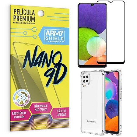 Kit Samsung A22 4G Película Premium Nano 9D + Capa Anti Impacto - Armyshield