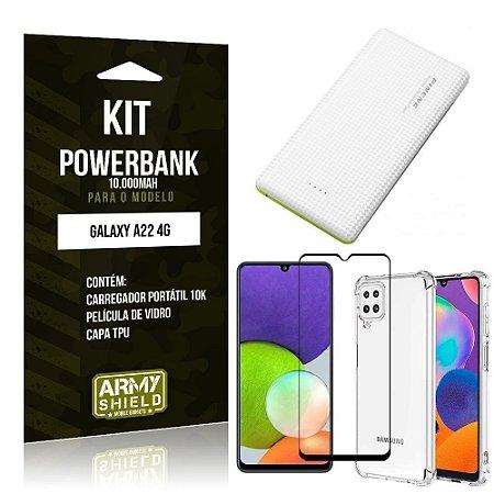 Kit Samsung A22 4G Carregador Portátil 10K Tipo C + Capa Anti Impacto +Película Vidro 3D -Armyshield