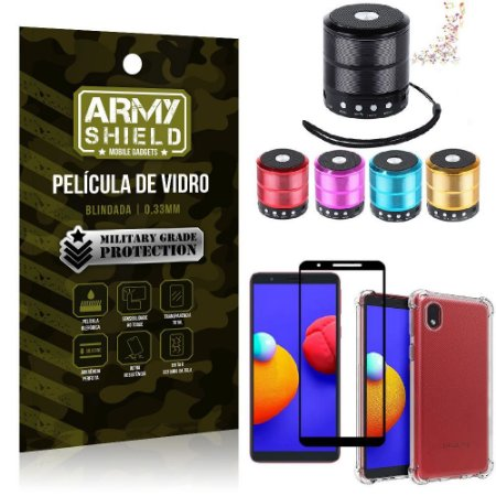 Kit Samsung A01 Core Mini Som Bluetooth + Capa Anti Impacto + Película Vidro 3D - Armyshield