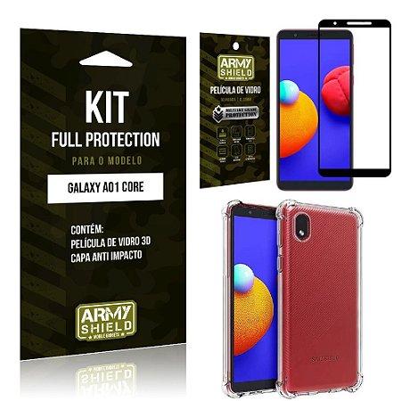 Kit Samsung A01 Core Full Protection com Película de Vidro 3D + Capa Anti Impacto - Armyshield