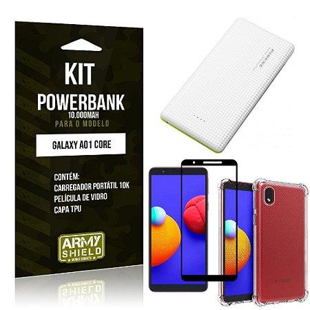 Kit Samsung A01 Core Carregador Portátil 10K + Capa Anti Impacto + Película Vidro 3D - Armyshield
