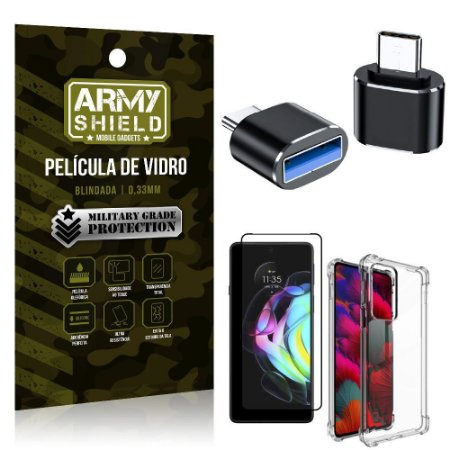 Kit Moto Edge 20 Adaptador OTG Tipo C para USB + Capa Anti Impacto + Película 3D - Armyshield