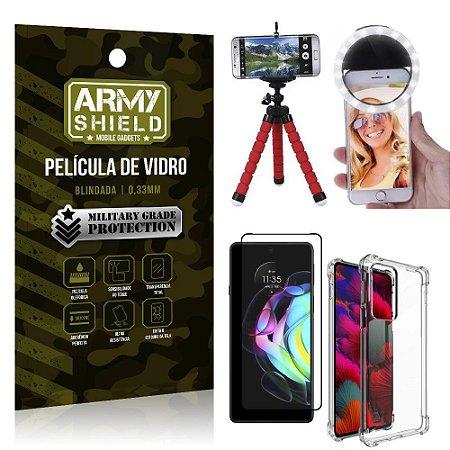 Kit Moto Edge 20 Tripé Flex + Flash Ring + Capa Anti Impacto + Película 3D - Armyshield