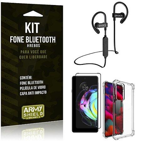 Kit Moto Edge 20 Fone Bluetooth HS188 + Película 3D + Capa Anti Impacto - Armyshield