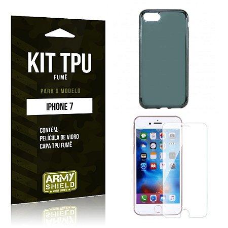 Kit Tpu Fumê Iphone 7 Película de Vidro + Capa Tpu Fumê -ArmyShield