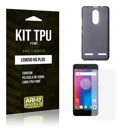 Kit Tpu Fumê Lenovo k6 plus Película de Vidro + Capa Tpu Fumê -ArmyShield