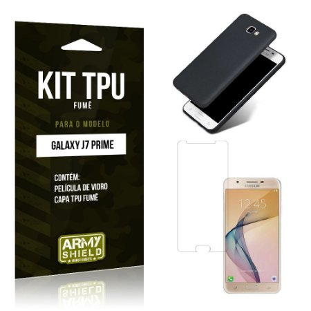 Kit Tpu Fumê Samsung j7 prime Película de Vidro + Capa Tpu Fumê -ArmyShield