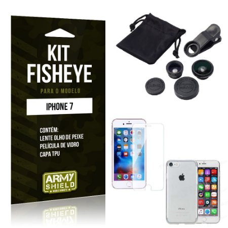 Kit Fisheye Iphone 7 Película de Vidro + Capa Tpu e Lente Olho de Peixe -ArmyShield