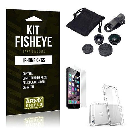 Kit Fisheye Iphone 6/ 6S Película de Vidro + Capa Tpu e Lente Olho de Peixe -ArmyShield