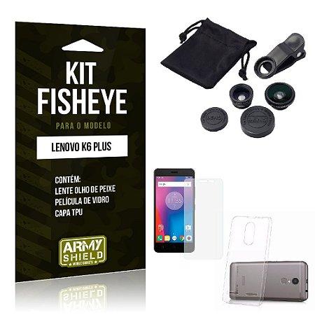 Kit Fisheye Lenovo k6 plus Película de Vidro + Capa Tpu e Lente Olho de Peixe -ArmyShield