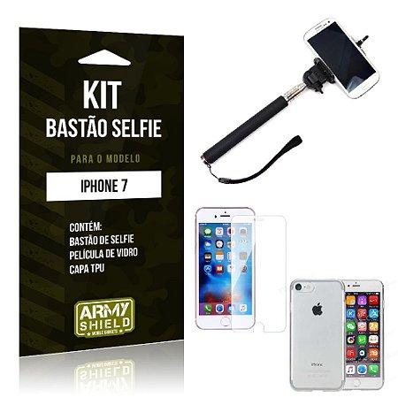 Kit Bastão Selfie Iphone 7 Película de Vidro + Capa Tpu + Bastão Selfie -ArmyShield
