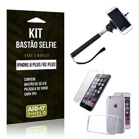 Kit Bastão Selfie Iphone 6 plus / 6S Plus Película de Vidro + Capa Tpu + Bastão Selfie -ArmyShield