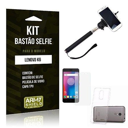 Kit Bastão Selfie Lenovo k6 Película de Vidro + Capa Tpu + Bastão Selfie -ArmyShield