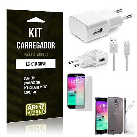 Kit Carregador LG K10 Novo 2017 Película de Vidro + Capa Tpu + Carregador  -ArmyShield