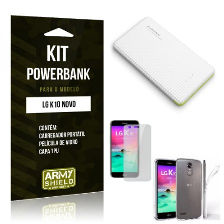 Kit Powerbank  LG K10 Novo 2017 Película de Vidro + Powerbank 10.000mah + Capa TPU -ArmyShield