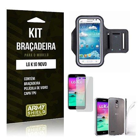 Kit Braçadeira LG K10 Novo 2017 Pelicula De Vidro + Capa Tpu + Braçadeira - Armyshield