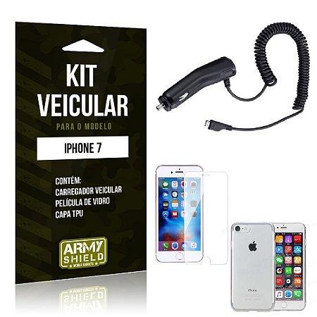 Kit Veicular Iphone 7 Película de Vidro + Capa Tpu + Carregador Veicular  -ArmyShield
