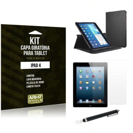 Kit Capa Giratória Apple iPad 4 - Armyshield