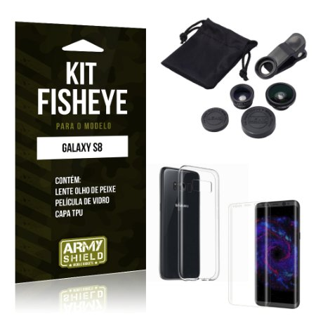 Kit FIsheye Samsung Galaxy S8  Película de Vidro + Capa Tpu e Lente Olho de Peixe - Armyshield