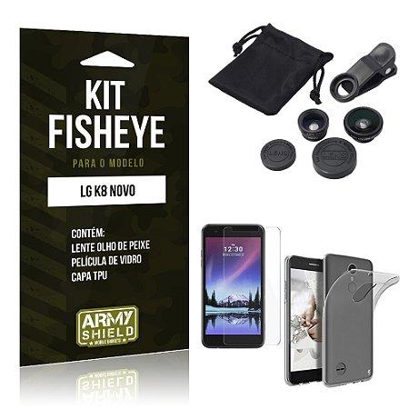 Kit FIsheye LG K8 Novo Película de Vidro + Capa Tpu e Lente Olho de Peixe  - Armyshield