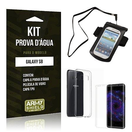 Kit Capa a prova d'agua Samsung Galaxy S8  Película de Vidro + Tpu + Capa a prova d'agua - Armyshield