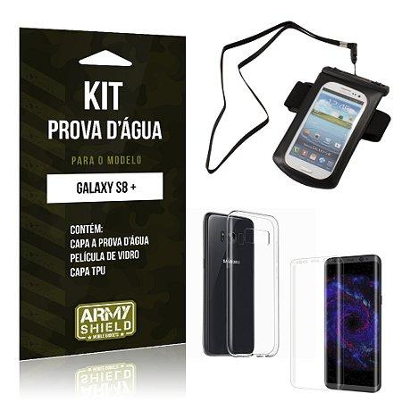 Kit Capa a prova d'agua Samsung Galaxy S8 Plus  Película de Vidro + Tpu + Capa a prova d'agua - Armyshield