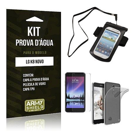 Kit Capa a prova d'agua LG K8 Novo Película de Vidro + Tpu + Capa a prova d'agua  - Armyshield