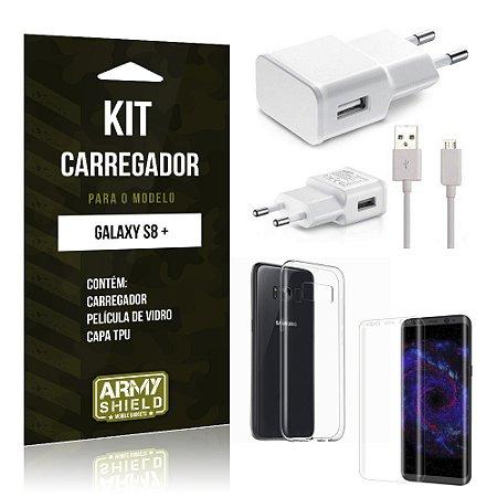 Kit Carregador  Samsung Galaxy S8 Plus Película de Vidro + Tpu + Carregador  - Armyshield