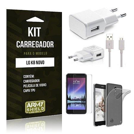Kit Carregador  LG K8 Novo Película de Vidro + Tpu + Carregador   - Armyshield