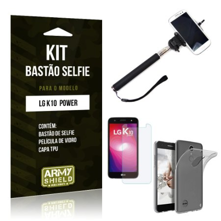 Kit Bastão Selfie  LG K10 Power Película de Vidro + Tpu + Bastão Selfie   - Armyshield