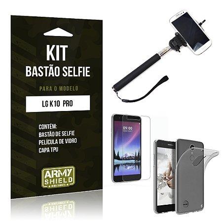 Kit Bastão Selfie  LG K10 Pro  Película de Vidro + Tpu + Bastão Selfie  - Armyshield