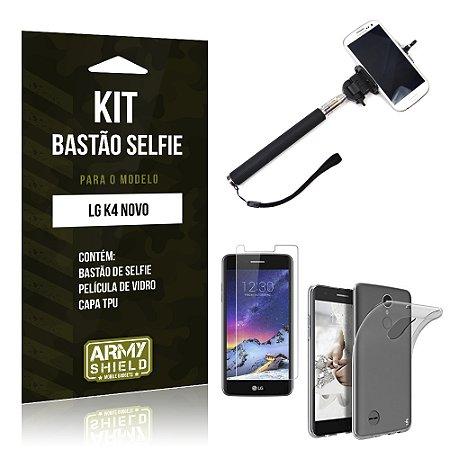 Kit Bastão Selfie  LG K4 Novo Película de Vidro + Tpu + Bastão Selfie   - Armyshield